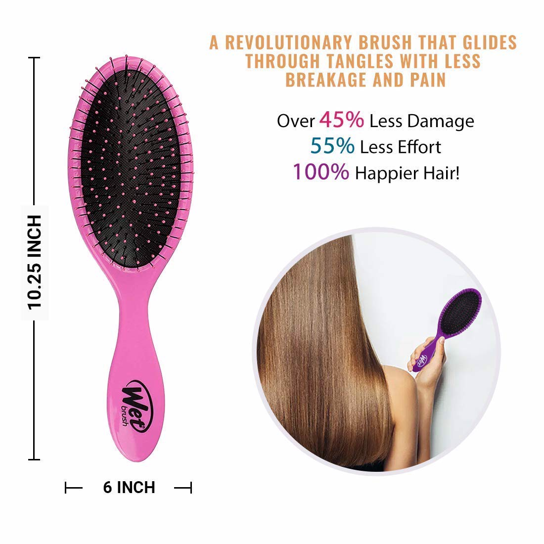 Lược chống rối Wet Brush Original Detangler Hair Brush - Pink (Pack of 3) - Exclusive Ultra-soft IntelliFlex Bristles