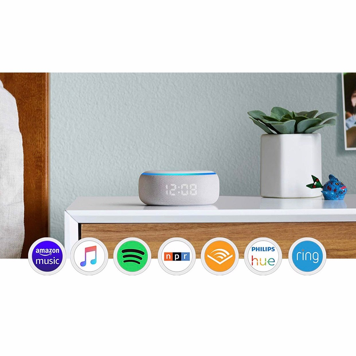Loa thông minh Smart speaker with clock and Alexa