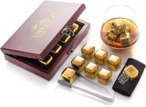 Amerigo Gold Stainless Steel Whiskey Stones Gift Set in Beautiful Wooden Box