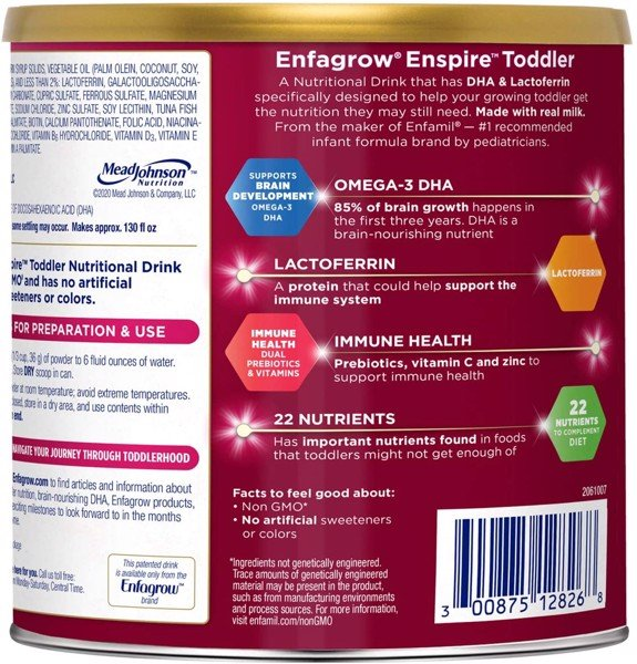 Enfamil Enspire Enfagrow Enspire Toddler Nutritional Drink Natural Milk Flavor 24 Ounce (680g)