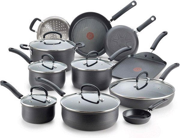 Bộ nồi T-fal Ultimate Hard Anodized Nonstick 17 Piece Cookware Set, Black