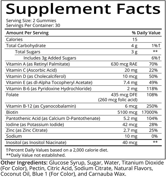 SugarBearHair Vitamins, Vegetarian Gummy Hair Vitamins with Biotin, Vitamin D, Vitamin B-12, Folic Acid, Vitamin A (2 Month Supply)
