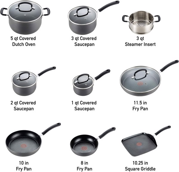 Bộ nồi T-fal E918SE Ultimate Hard Anodized Nonstick 14 Piece Cookware Set