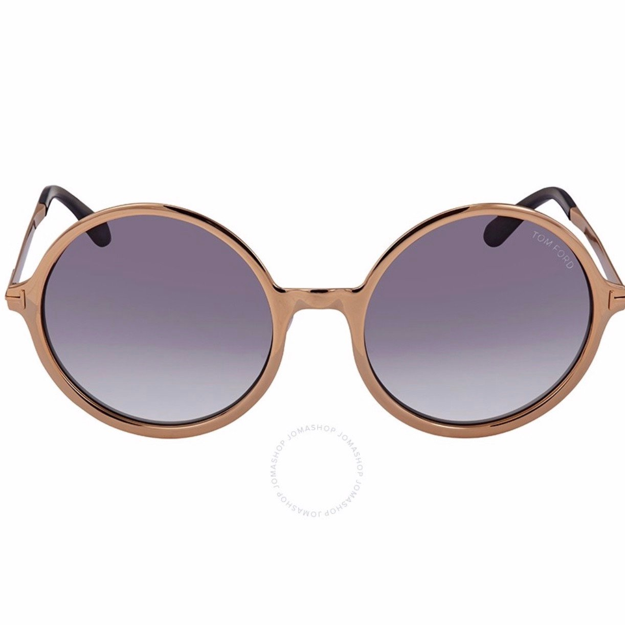 Tom Ford Ava Shiny Rose Gold Grey Round Sunglasses