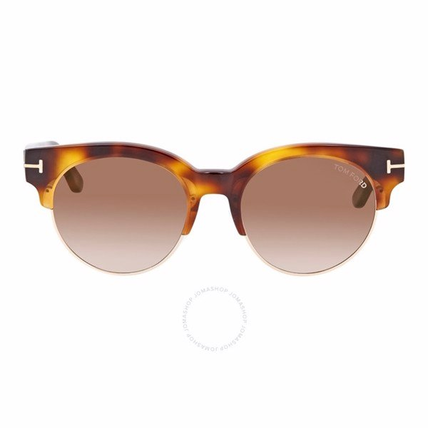 Tom Ford Brown Round Ladies Sunglasses