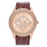 Crystal Chronograph Rose Gold Watch & Croc Embossed Band 7-Piece Set