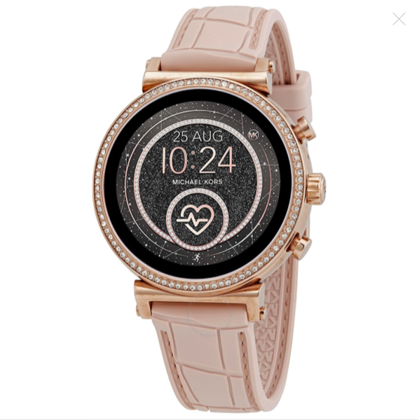 Đồng hồ unisex Michael Kors Access Gen 4 Sofie Rose Gold-tone and Embossed Silicone Smartwatch