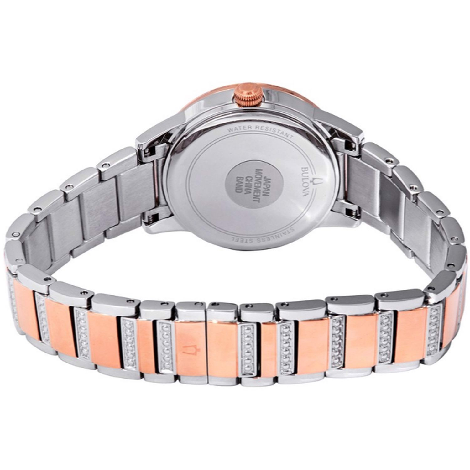 Đồng hồ nữ Bulova Crystal Turnstyle Mother of Pearl Dial Two-Tone Ladies Watch