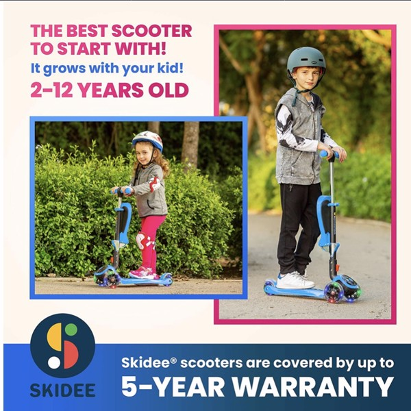 Xe Scooter S SKIDEE for Kids with Foldable and Removable