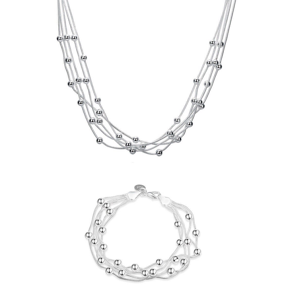 Set vòng 18K White Gold Plated Bubble Necklace and Bracelet