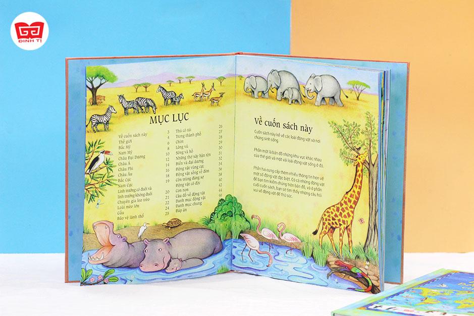 Set 2 cuốn Atlas bằng tranh cho trẻ em + Atlas động vật bằng tranh cho trẻ em