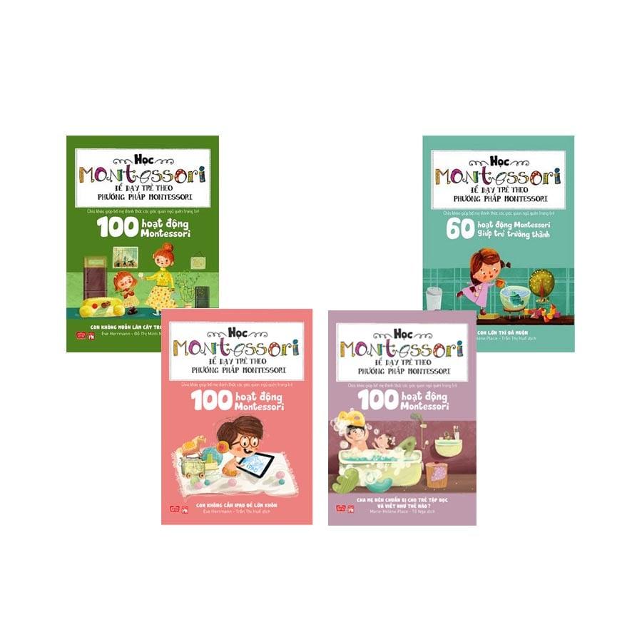 Học Montessori để dạy trẻ theo phương pháp Montessori (Bộ 4 cuốn) tặng kèm 1 cuốn sách mặt nạ Động vật nuôi