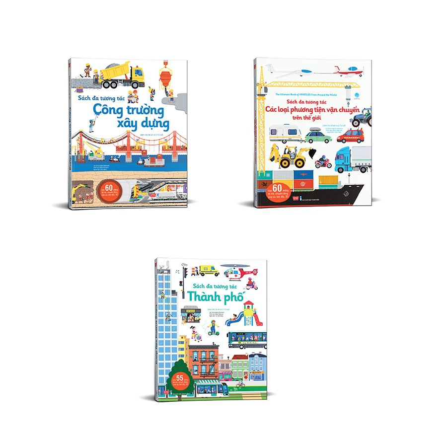 Set 3 cuốn sách đa tương tác: Công trường xây dựng + Thành phố + Các loại phương tiện vận chuyển trên thế giới (Tặng kèm đồ chơi 3D)