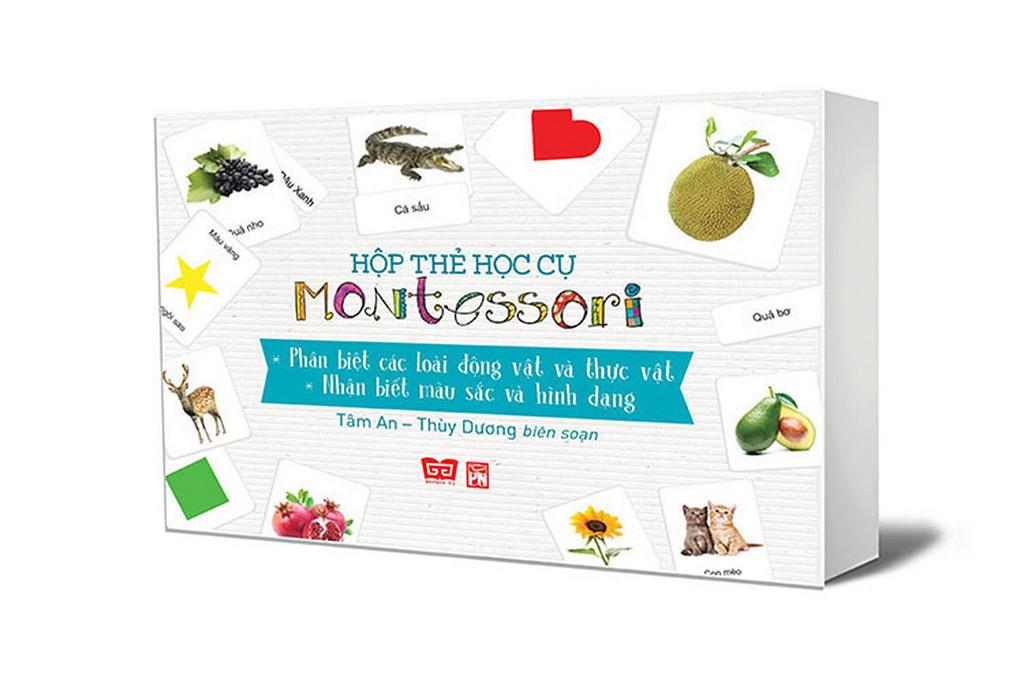 Hộp thẻ học cụ montessori - Phân biệt các loài ĐV và TV, nhận biết màu sắc và hình dạng