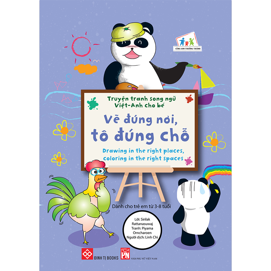 Truyện tranh song ngữ Việt-Anh cho bé - Drawing in the right places, coloring in the right spaces - Vẽ đúng nơi, tô đúng chỗ