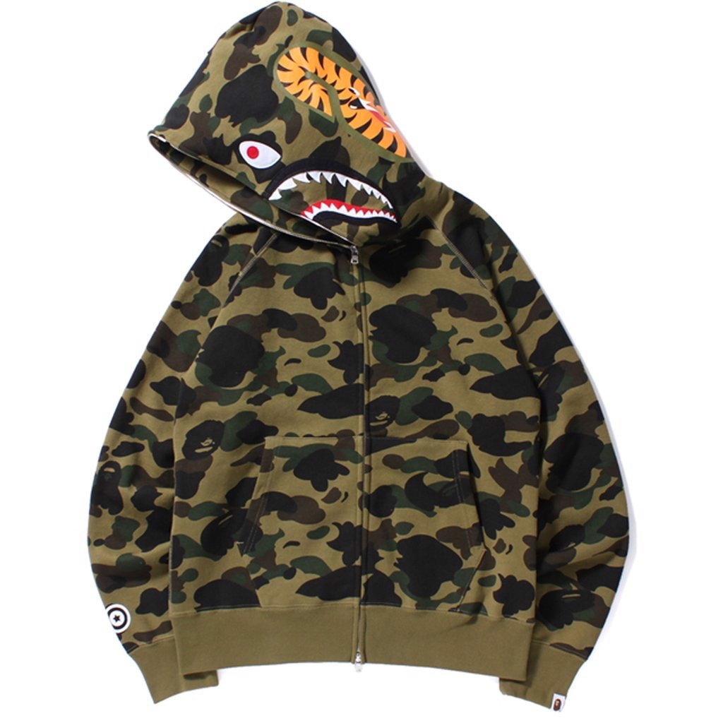 BAPE SHARK yellow CAMO HOODIE FULL ZIP