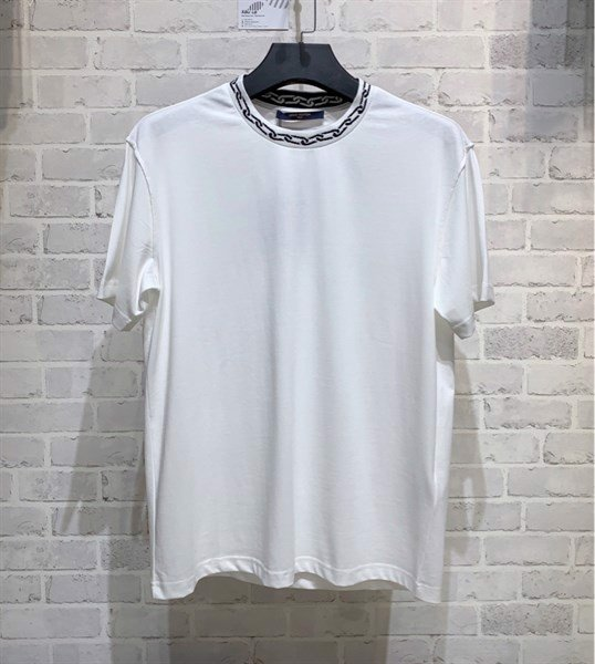 LV T-SHIRT WITH CHAIN JACQUARD RIB COLLAR (1:1)