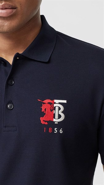 BBR Contrast Logo Graphic Cotton Piqué Polo Shirt NAVY (1:1)