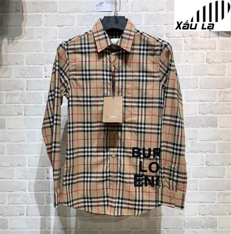 BBR Logo Print Check Cotton Oversized Shirt (1:1)