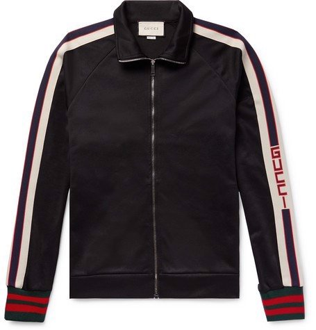Gucci - Webbing-Trimmed Tech-Jersey Track Jacket - Black (1:1)