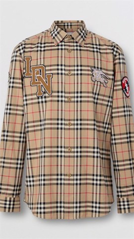 BBR Classic Fit Logo Graphic Vintage Check Cotton Shirt (1:1)