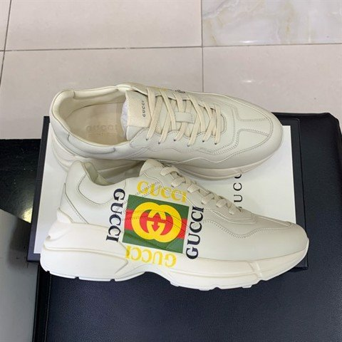 Rhyton Gucci logo leather sneaker (best)