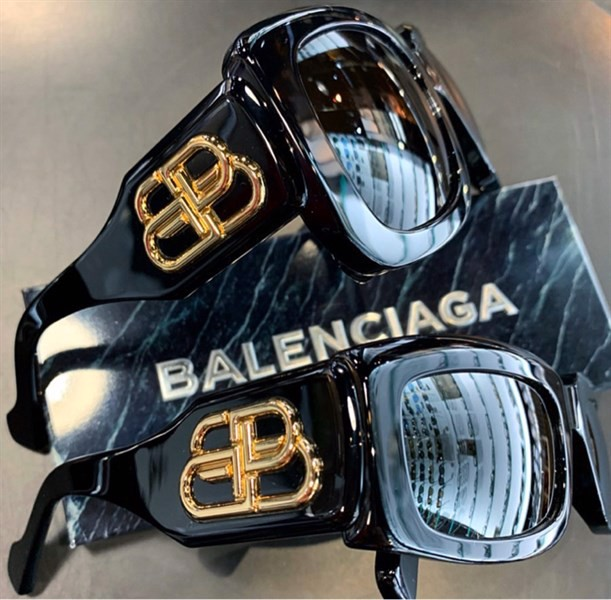 BALENCIAGA Black BB Plaque Square Sunglasses