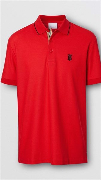 BBR Icon Stripe Placket Cotton Piqué Polo Shirt Red (1:1)