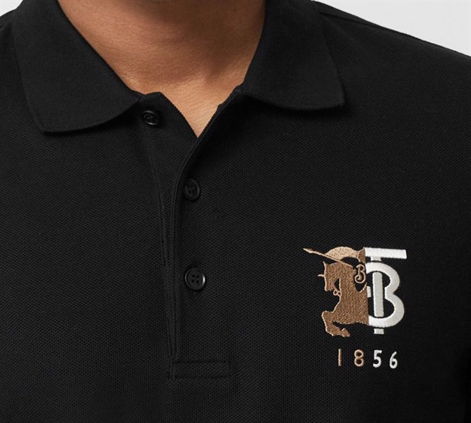 BBR Contrast Logo Graphic Cotton Piqué Polo Shirt Black (1:1)