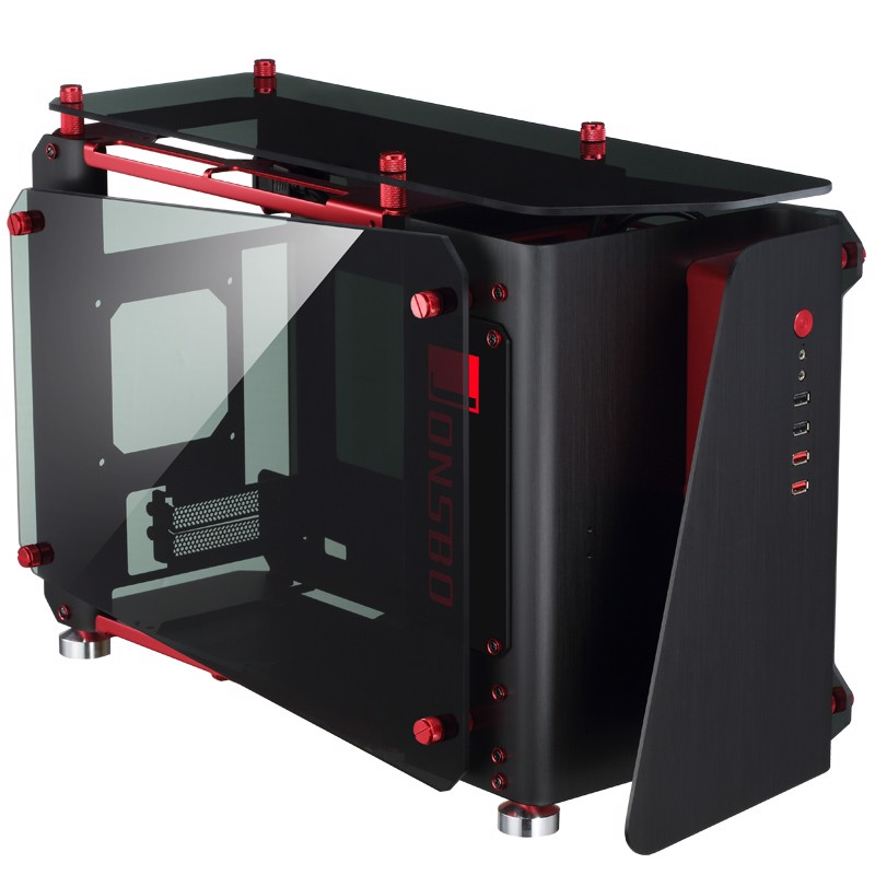 Case JONSBO MOD1-MINI Black-Red - Aluminium & Tempered Glass