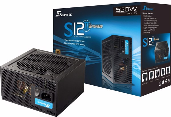 PSU Seasonic S12 II 520W - 80Plus Bronze - Active PFC - BH 36 tháng