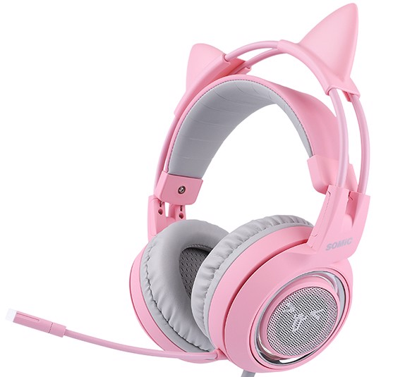 Somic G951 Virtual 7.1 Kitty Ear Pink Gaming Headset