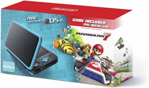 New Nintendo 2DS XL - Black + Turquoise With Mario Kart 7