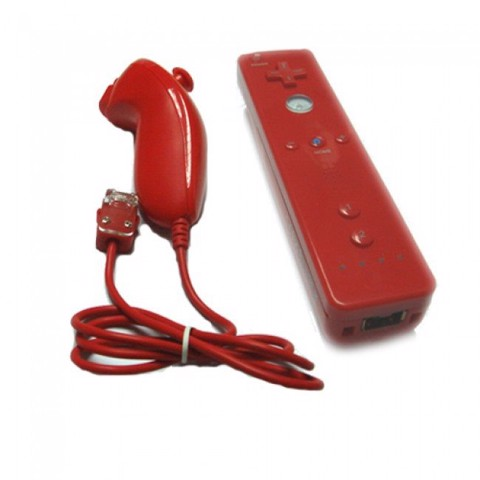 Wii Official Remote Control & Nunchuk Controller Red