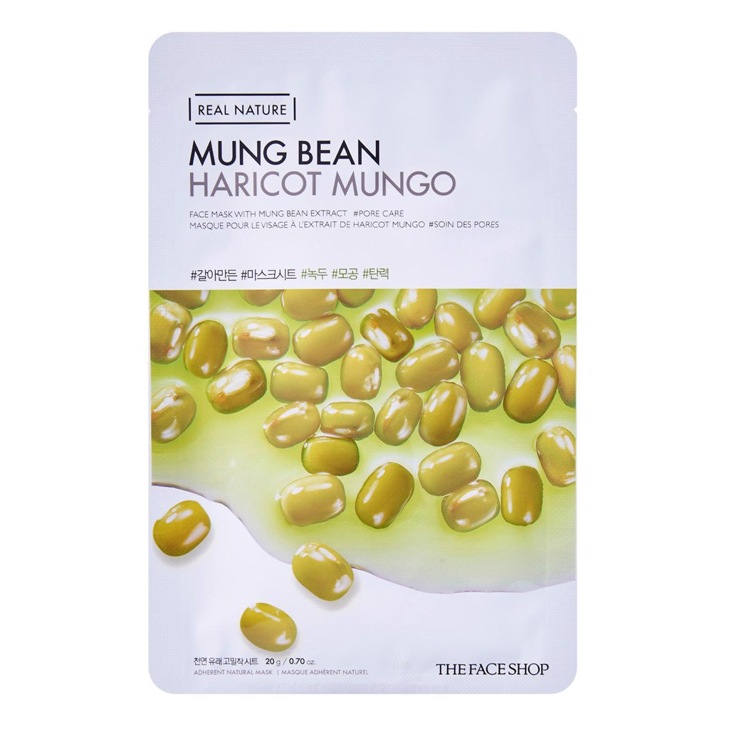 Mặt nạ The Face Shop chiết xuất đậu xanh Real Nature Mung Bean Face Mask 20g