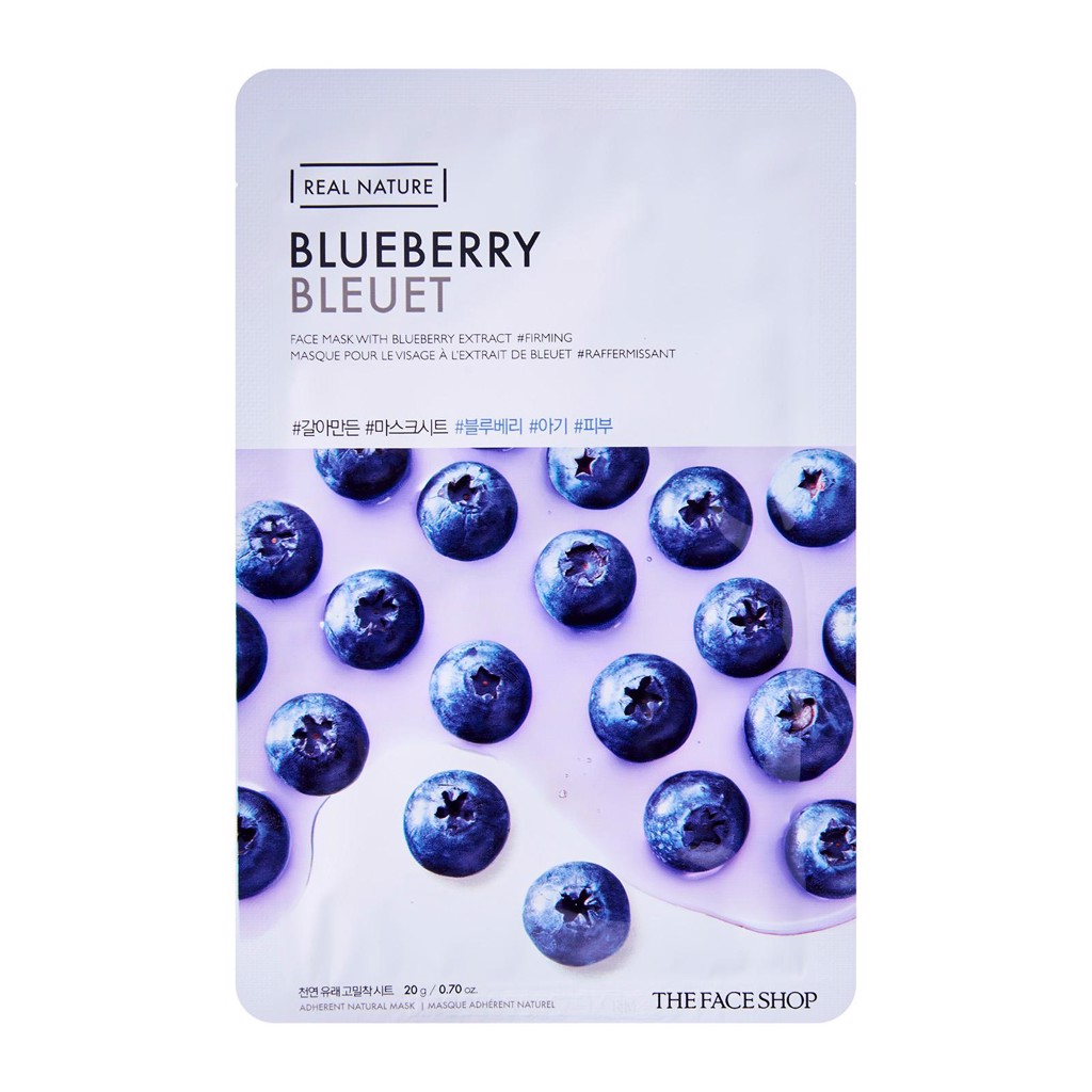 Mặt nạ chống lão hóa The Face Shop Real Nature Blueberry Face Mask 20g
