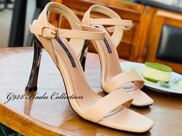 Sandal gót tráng bạc