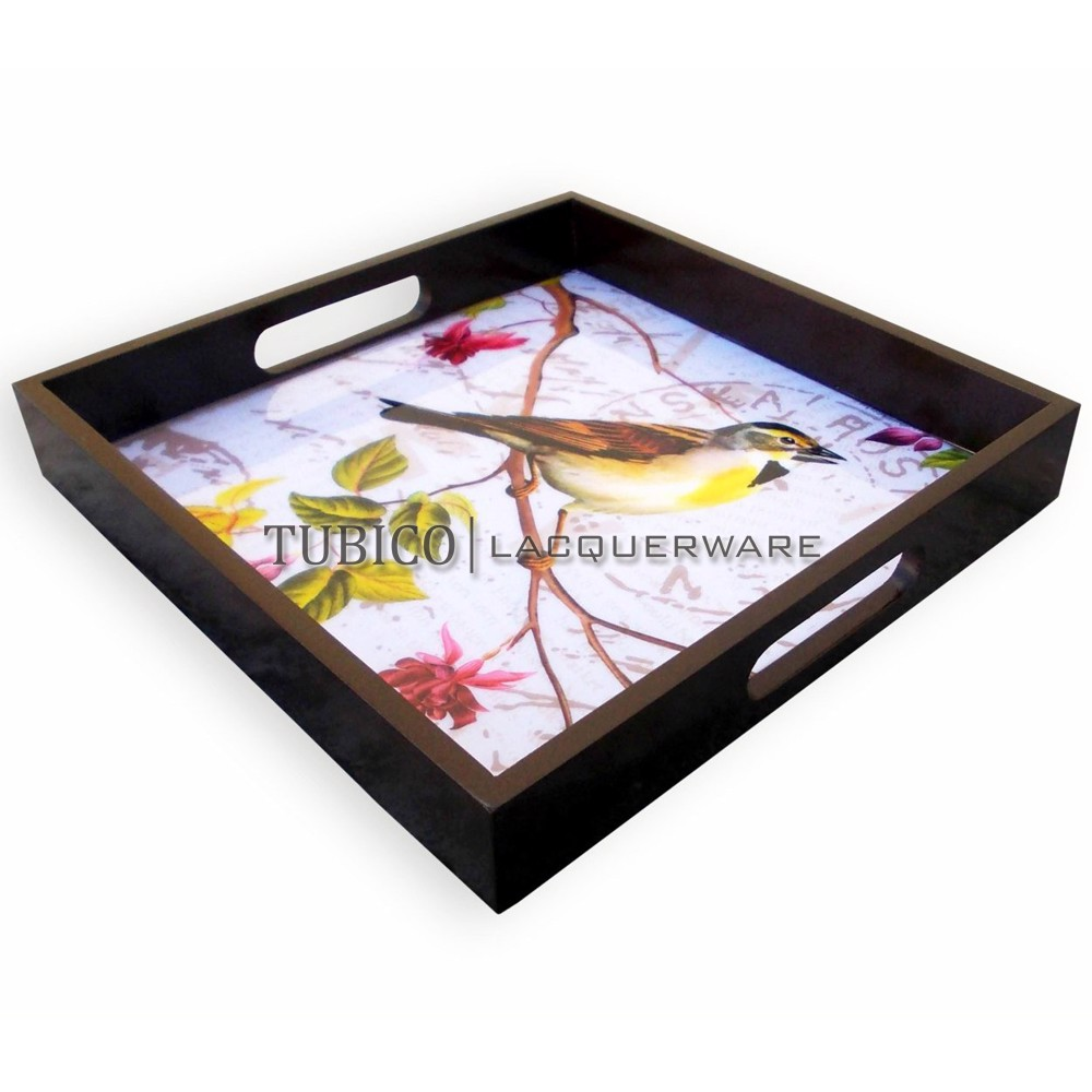 Lacquer serving tray with printing pattern