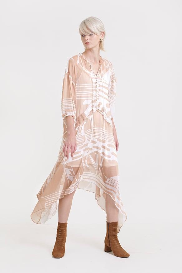 Đầm suông rộng họa tiết fall18 nút thân trước