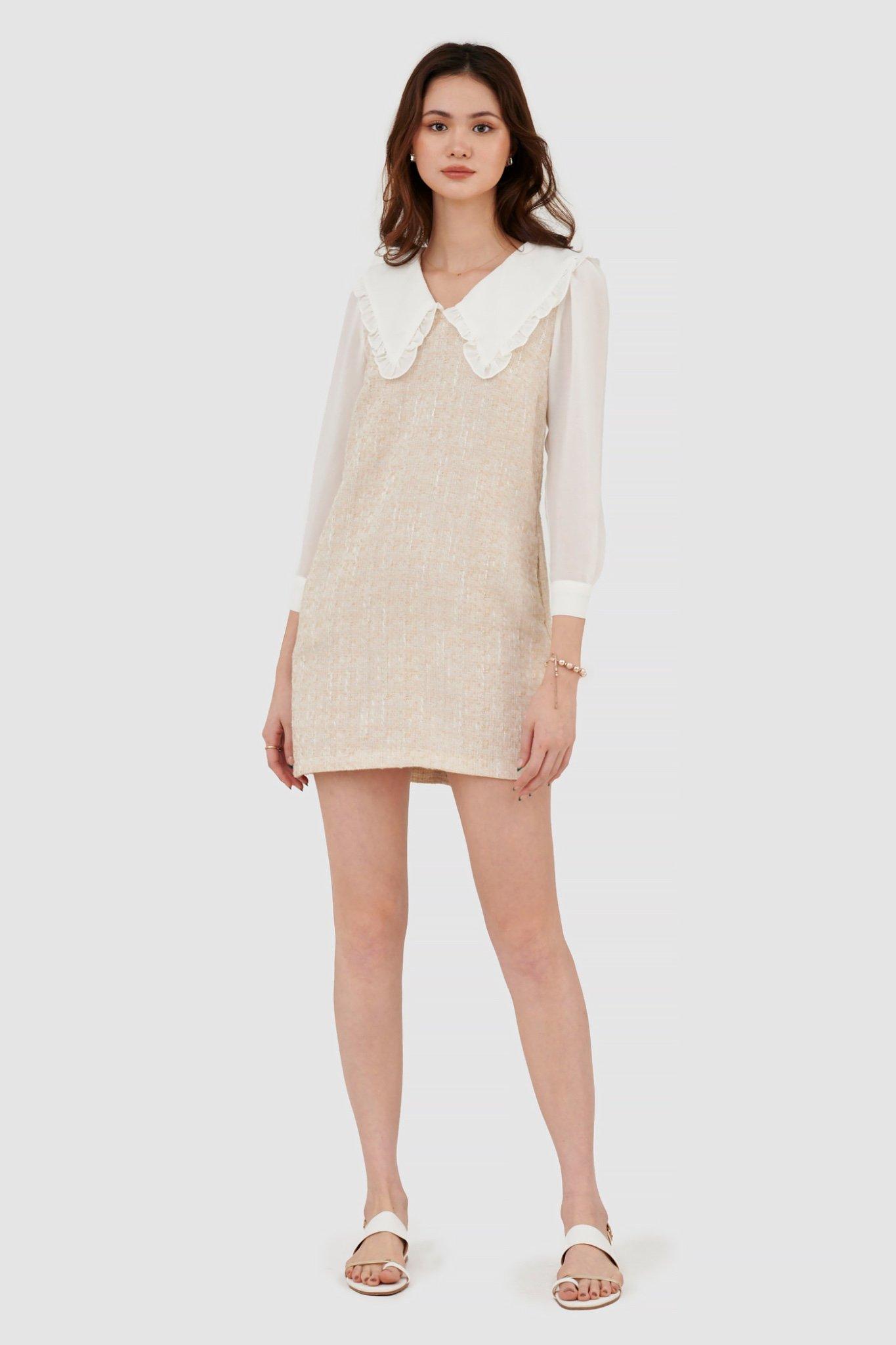 Đầm form suông vải tweed phối vải