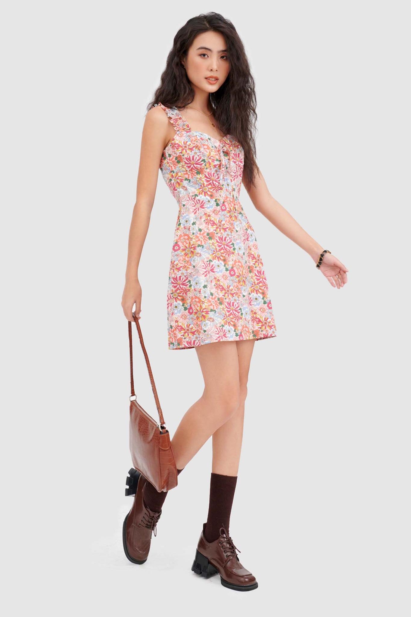 Đầm mini 2 dây nhún hoạ tiết hoa