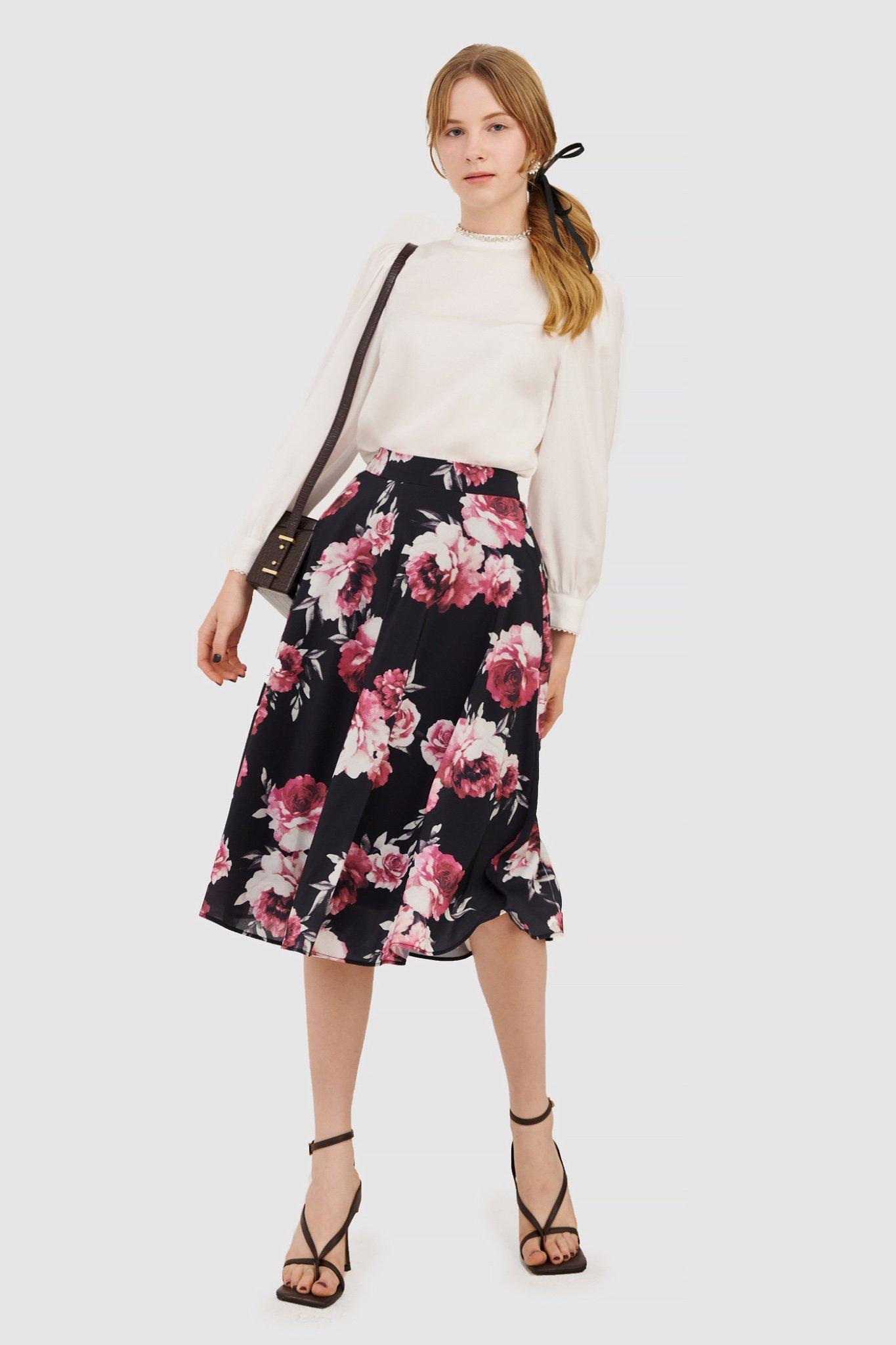 Váy midi hoạ tiết hoa hồng