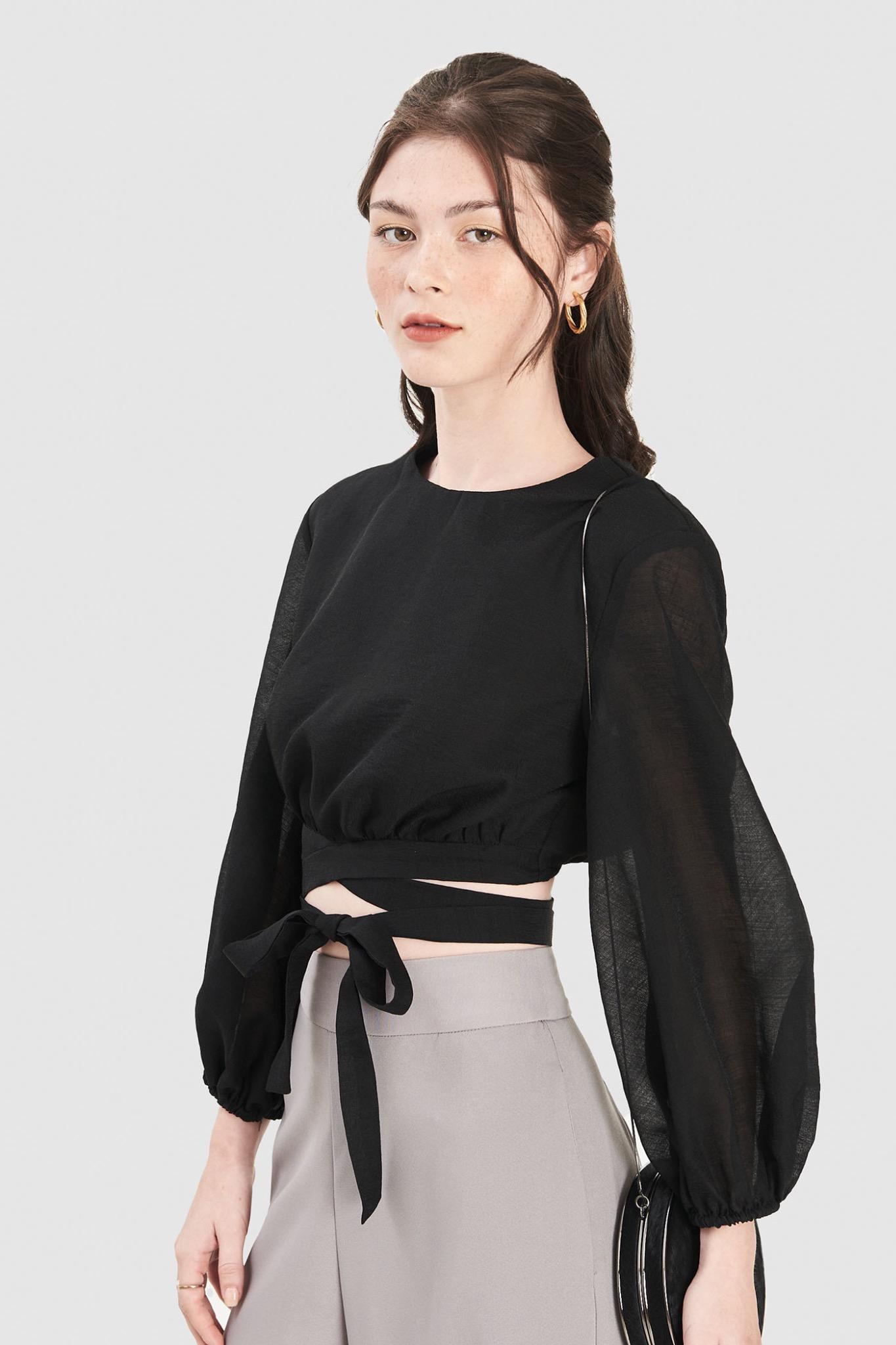 Áo kiểu crop tay dài phồng thắt dây eo