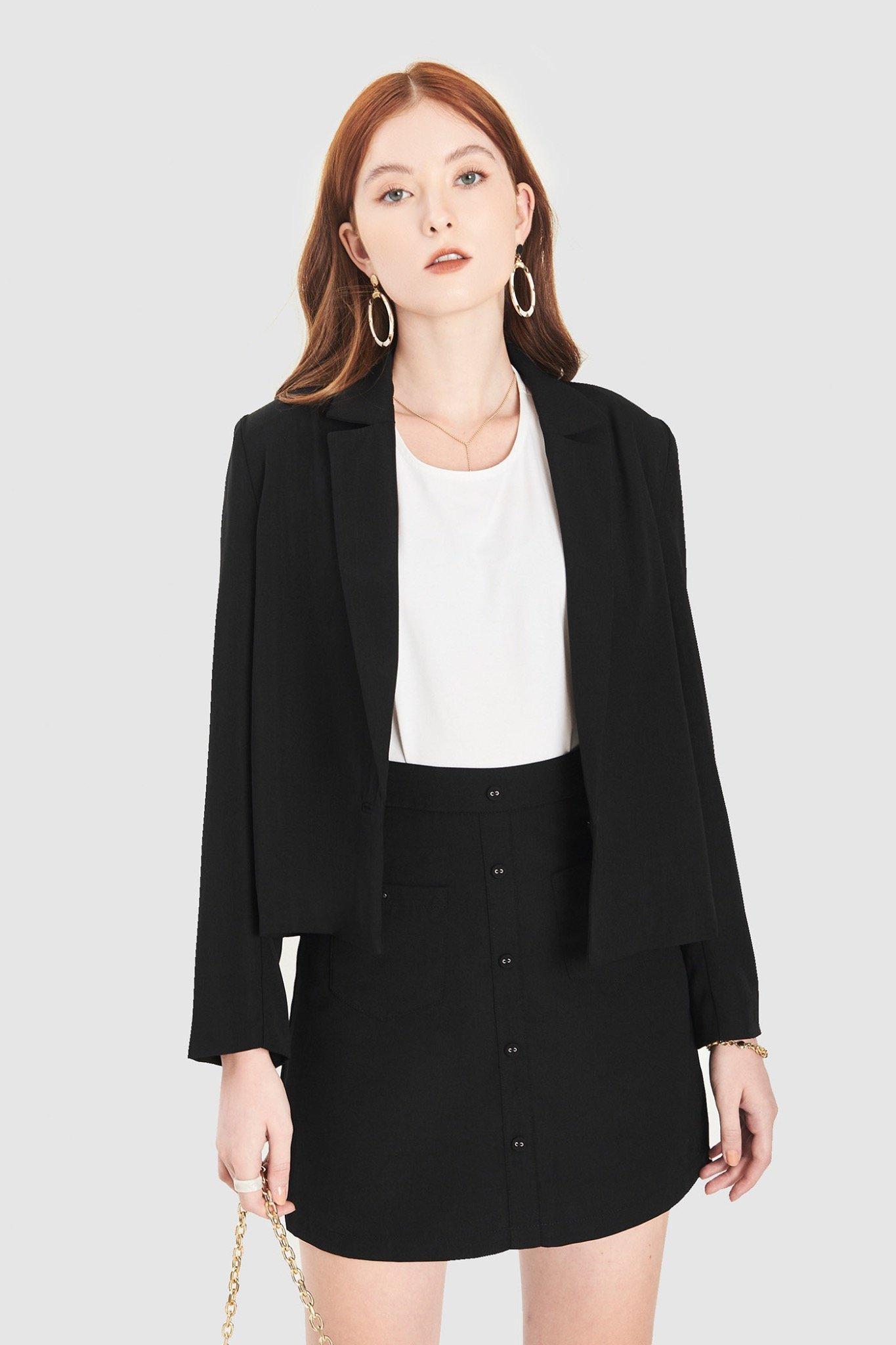 Áo blazer crop cài 1 nút