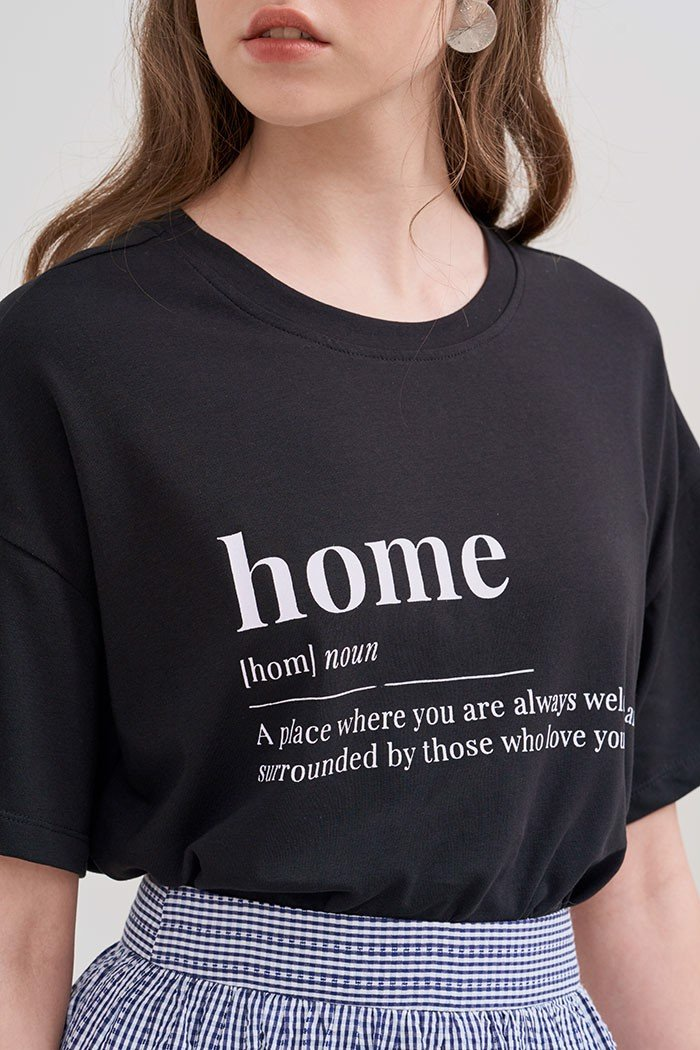 Áo thun in keyword home oversize