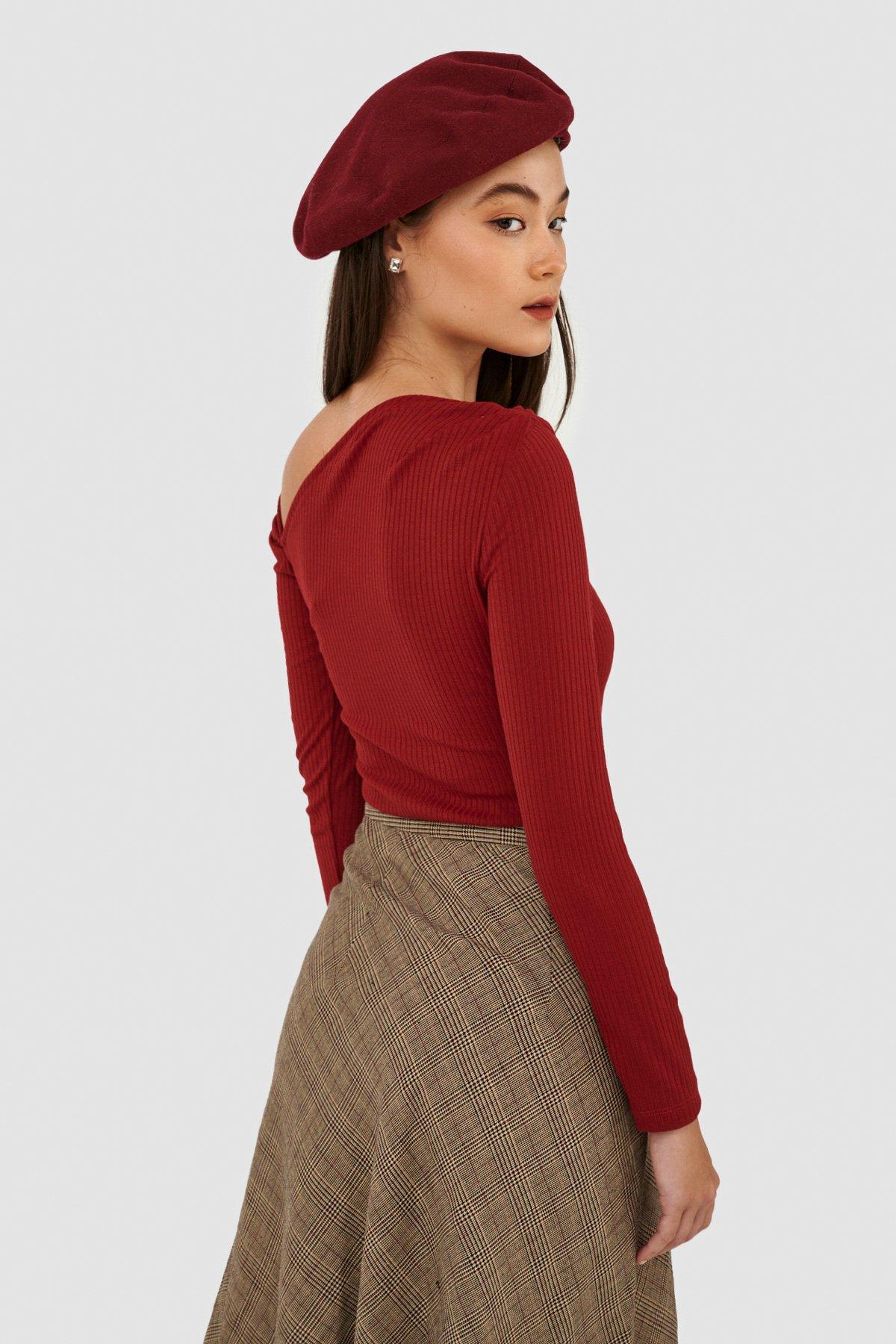 Áo knit tay dài lệch vai