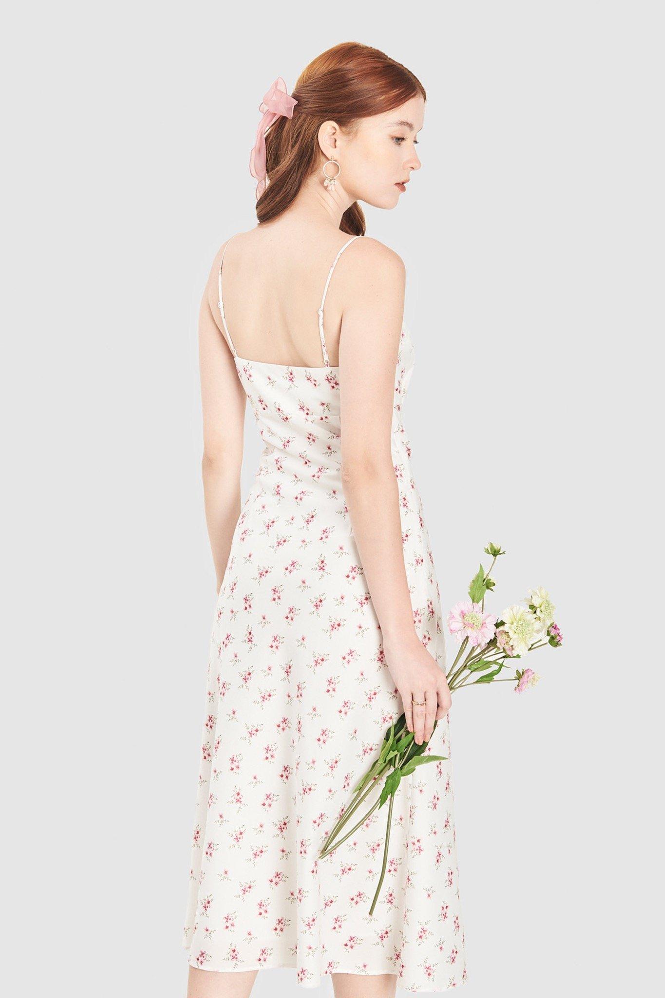 Đầm slip 2 dây nhún ngực họa tiết hoa