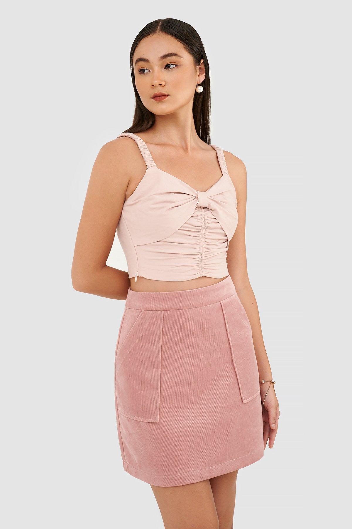 Váy mini đắp túi nhung