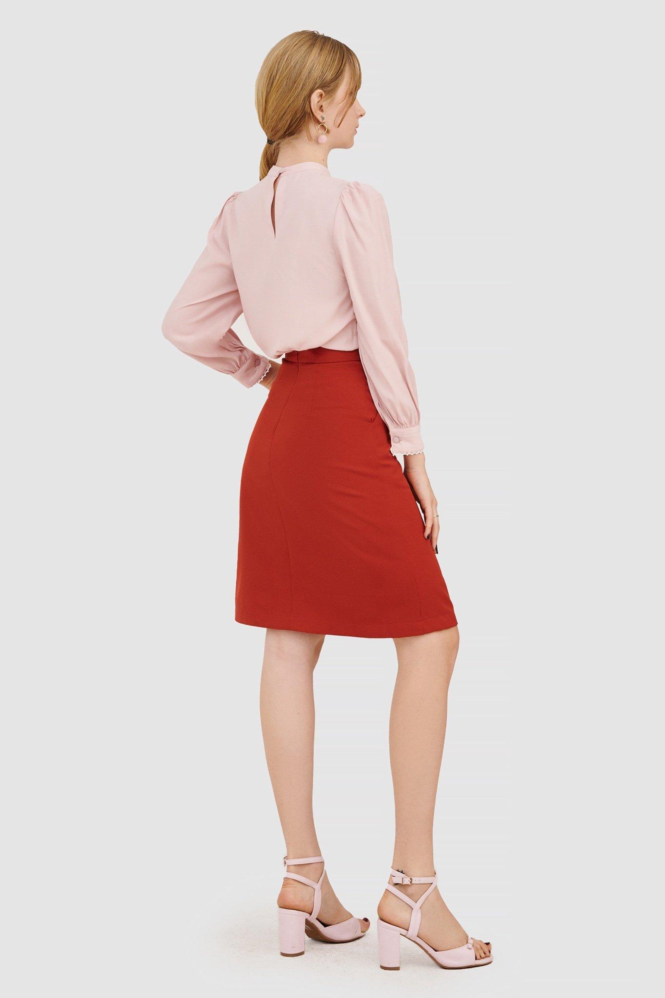Áo blouse tay dài viền ren nhí