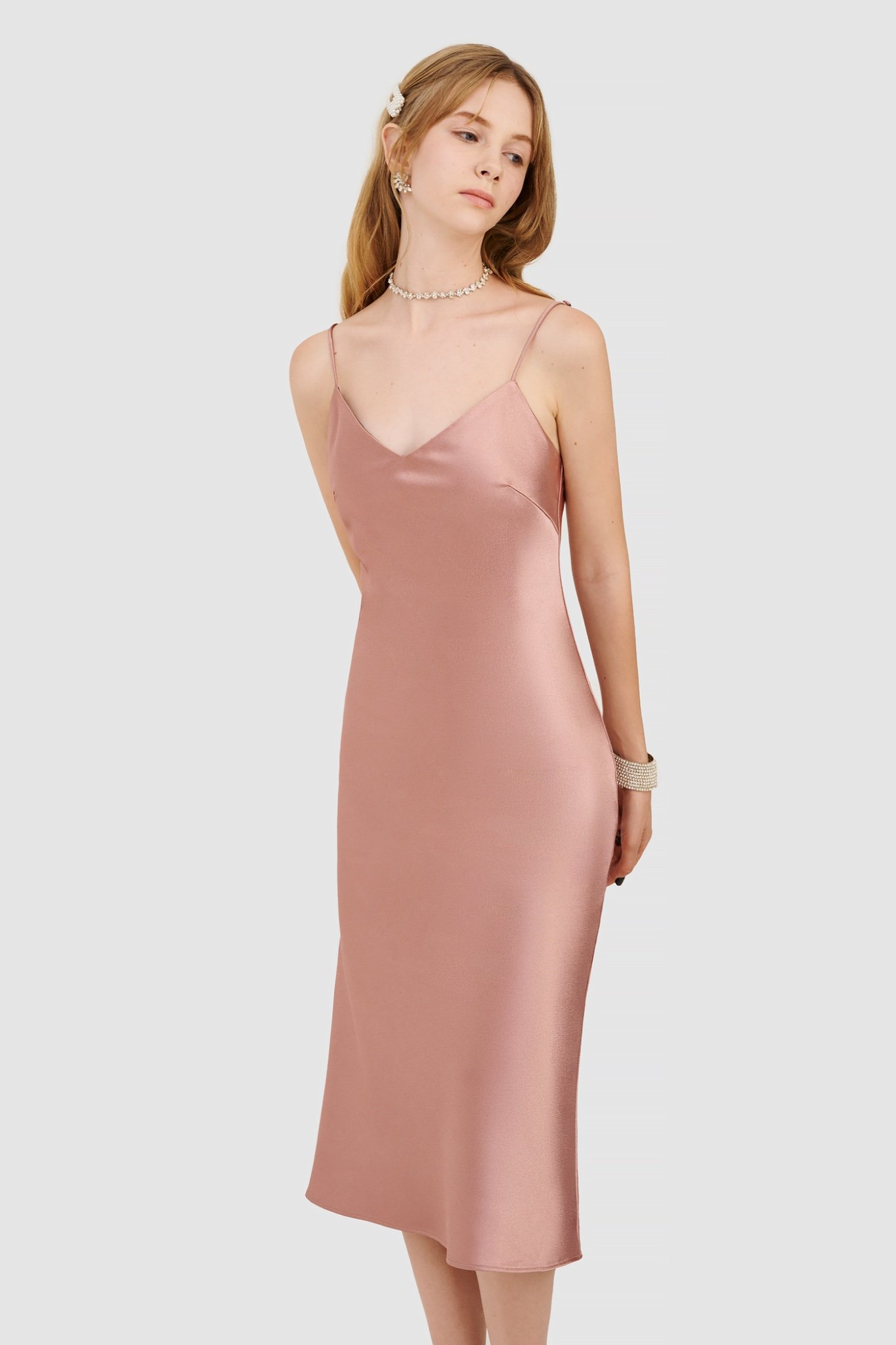 Đầm 2 dây slip dress satin